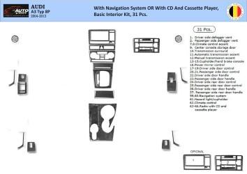 Toyota Corolla 06.04 - 08.07 Mittelkonsole Armaturendekor Cockpit Dekor 19 -Teile