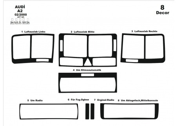 Volvo S 40 - V 40 04.00 - 05.03 Mittelkonsole Armaturendekor Cockpit Dekor 10 -Teile