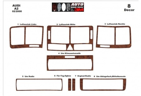 Volvo S 40 - V 50 - C 30 06.2003 Interior Dashboard Trim Kit Dashtrim accessories, wood grain, camouflage, carbon fiber, aluminu