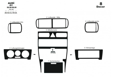 Volvo S 60 - V 70 05.05 - 12.09 Interior Dashboard Trim Kit Dashtrim accessories, wood grain, camouflage, carbon fiber, aluminum