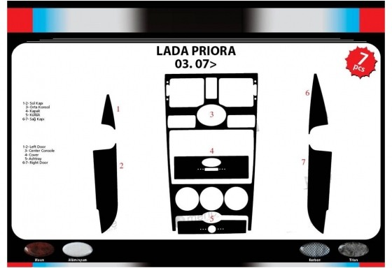 Lada Priora 03.2007 3M 3D Car Tuning Interior Tuning Interior Customisation UK Right Hand Drive Australia Dashboard Trim Kit Das
