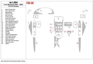 Kia Carens 11.2006 Interior Dashboard Trim Kit Dashtrim accessories, wood grain, camouflage, carbon fiber, aluminum dash kits 3-