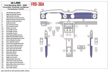 Ford Transit Custom 01.2014 Interior Dashboard Trim Kit Dashtrim accessories, wood grain, camouflage, carbon fiber, aluminum das