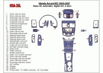 Hyundai Coupe 08.96 - 12.04 Interior Dashboard Trim Kit Dashtrim accessories, wood grain, camouflage, carbon fiber, aluminum das